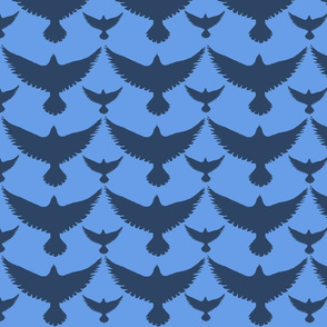 dark birds on blue