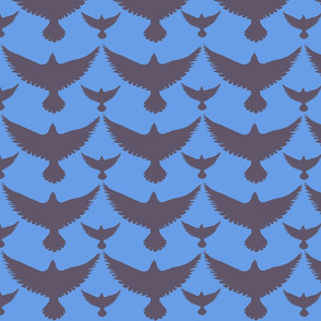 brown birds on blue