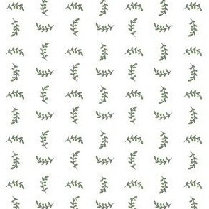 Conversational pattern with delicate green leaf branches