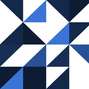 triangle cheater quilt - navy