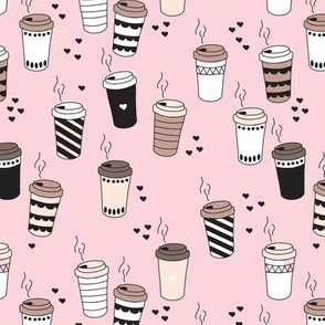 Coffee love never too hot for coffee take away cups illustration for addicts in black white and pink