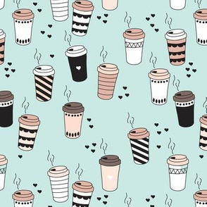 Coffee love never too hot for coffee take away cups illustration for addicts in black white and blue