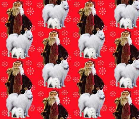 Christmas Samoyed and Santa