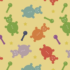 Happy teddys with rattles and stars_colorful