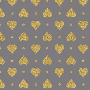 Titanium Gray Faux Glitter Gold Hearts