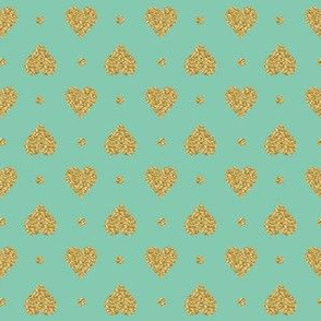 Faux Gold Glitter Hearts, Jade Mint