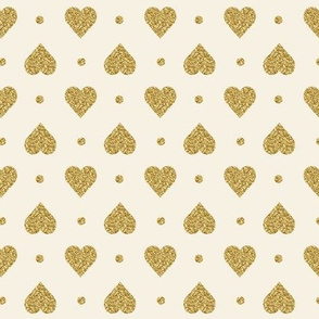 Faux Gold Glitter Hearts, Cotton White