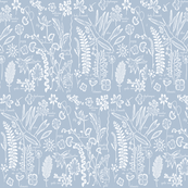 Botanical silhouette blue