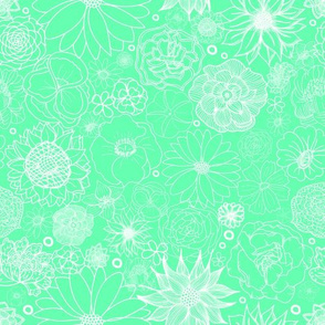 White on Green Floral