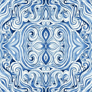 Indigo Blue Watercolor Swirl Pattern