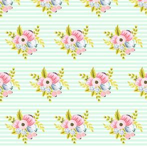 Horizontal stripe floral - light mint