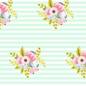 Horizontal stripe floral - light mint small