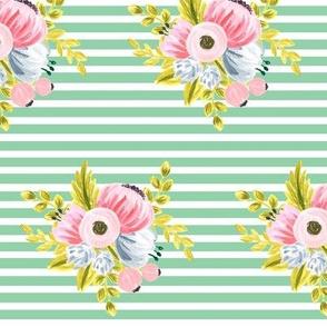 Horizontal stripe floral - light green