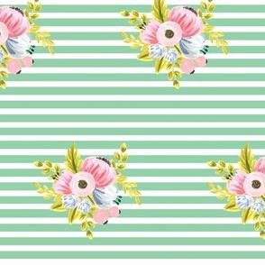 Horizontal stripe floral - light green small