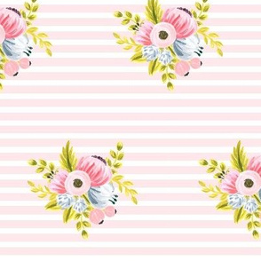 Horizontal stripe floral - light pink small