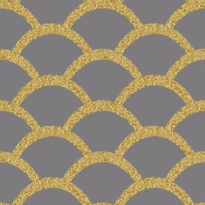 Faux Gold Glitter Scallop, Titanium Gray