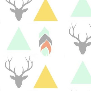 deer head, triangles & feather