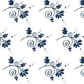 Curly Blue Floral-#02264A