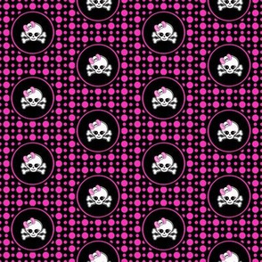2x2 Pink Black Girly Skull