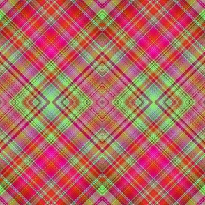 HOT GREEN AND RED FUSHIA CHERRY DIAGONAL PLAID