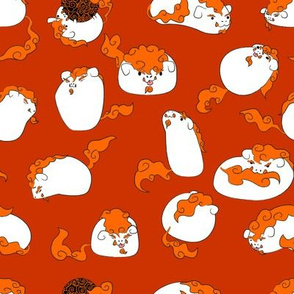Fu-Dogs White and Orange