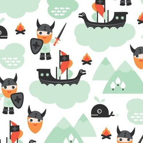 Cute kids historical hero theme viking battle ship whale and scandinavian woodland in mint and orange