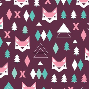 Geometric fox and pine tree illustration pattern purple pink for girls