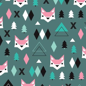 Geometric fox and pine tree illustration pattern pink green