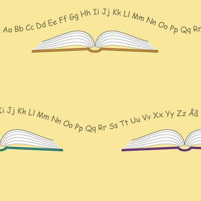 School books with letters and numbers_Yellow