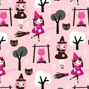 Adorable pink little witch theme with black cats and magic potion brooms and trees girls illustration print