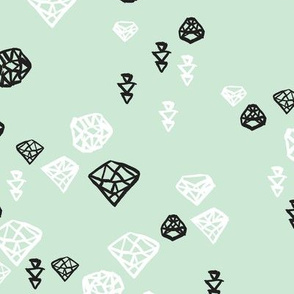 Pastel colors diamond and geometric gems in black white and soft mint
