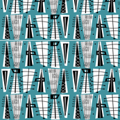 Mid-Century Modern Abstract Teal