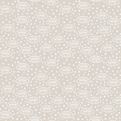 Baby Scribble Dream Clouds & Stars White on Beige