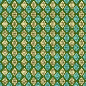 Ikat Diamonds- Teal and Nude on Green