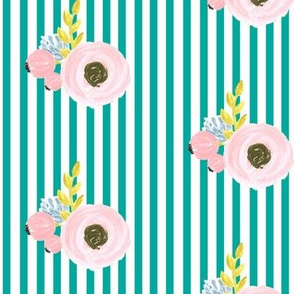 Single flower with stripes - turquoise