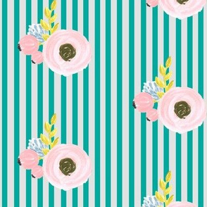 Single flower with stripes - light grey and turquoise
