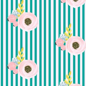 Single flower with stripes - light pink and turquoise