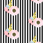 Single flower with stripes - black