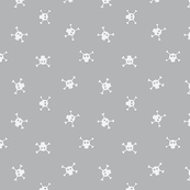 Bitty Skulls - White on Grey - small
