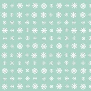 Snowflakes -seafoam white