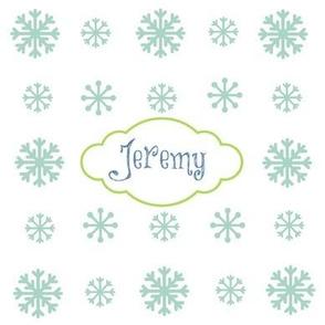 Snowflakes snow seafoam-personalized