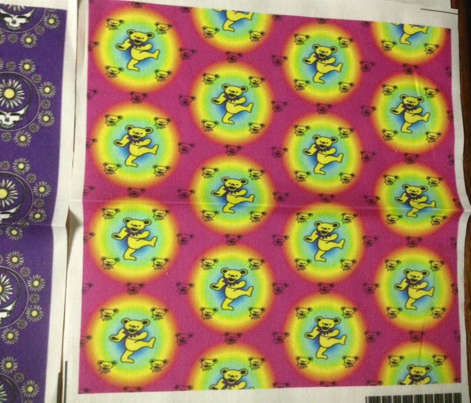 "2x2 half Drop Mini bear head Pink rainbow Background with Large 2"" Yellow and Purple Dancing bear Grateful Dead-ed-ed"