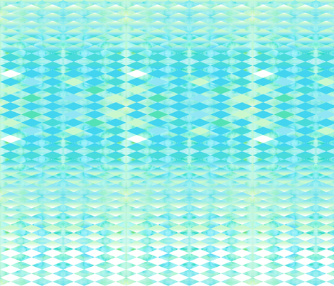 Aqua Watercolor With Ombre Harlequin Pattern