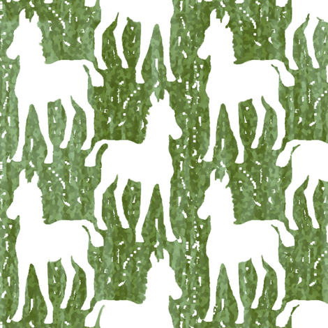 White Silhouette Foal on Greens
