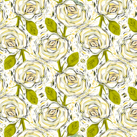 Cream colored Roses on White