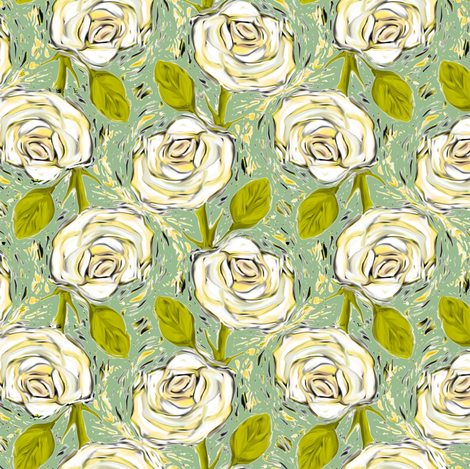 Cream colored Roses on Green