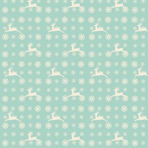 Snowflakes -seafoam beige raindeer