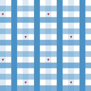 Blue Heart Gingham