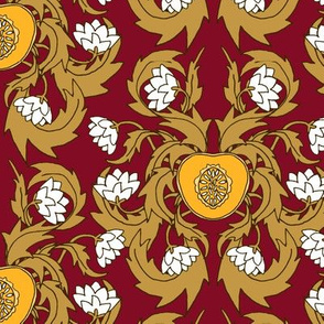 Vineyard Damask  Nuveau Red