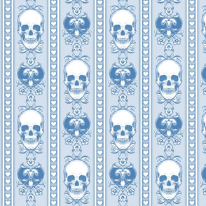 Baroque Skull Stripe Light  Blue